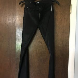 Very skinny black hudons wax jeans